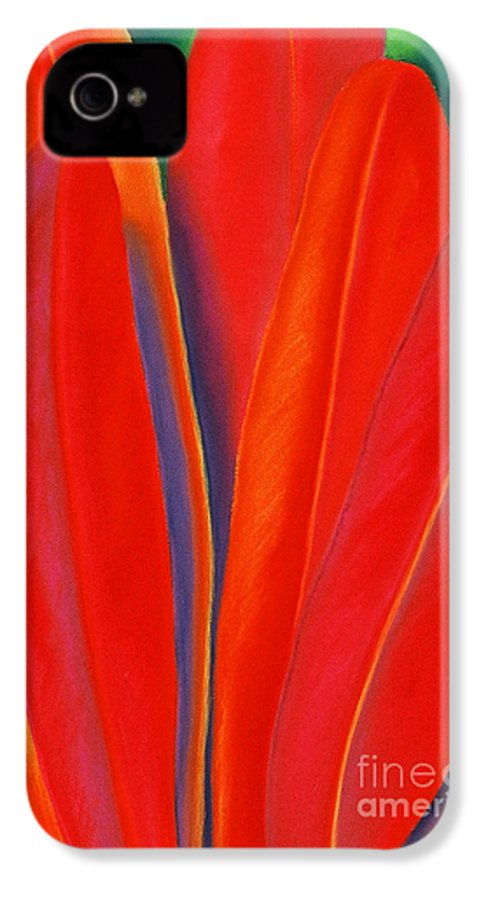 Red IPhone 4 Case featuring the painting Red Petals by Lucy Arnold