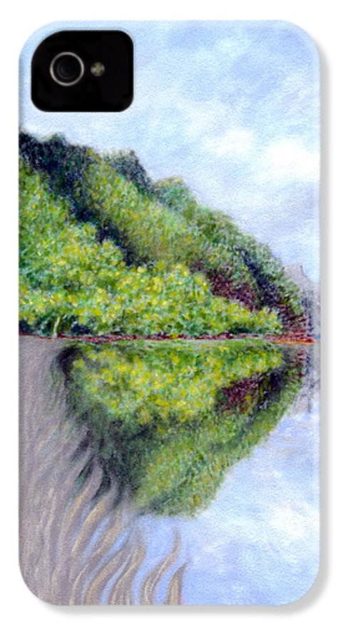 Coastal Decor IPhone 4 Case featuring the painting Reflection by Kenneth Grzesik
