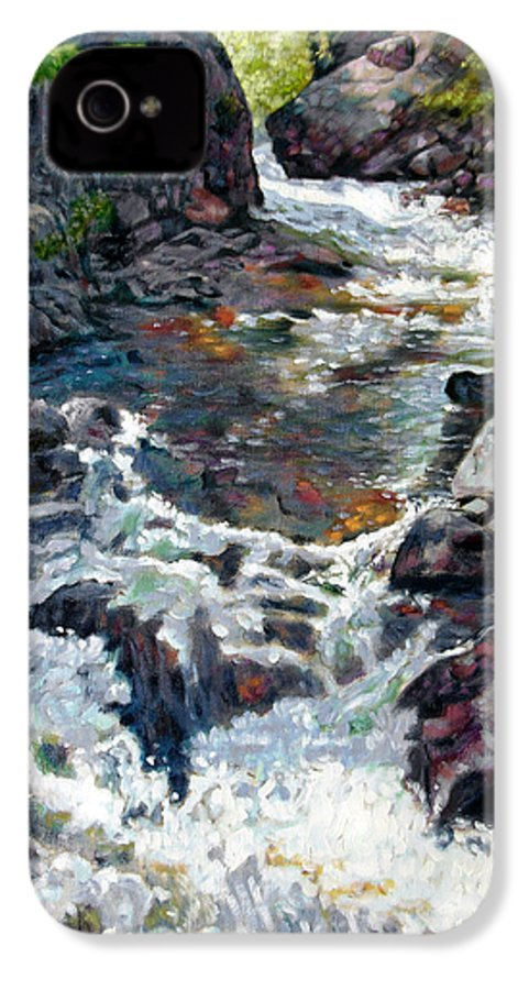A Fast Moving Stream In Colorado Rocky Mountains IPhone 4 Case featuring the painting Rushing Waters by John Lautermilch