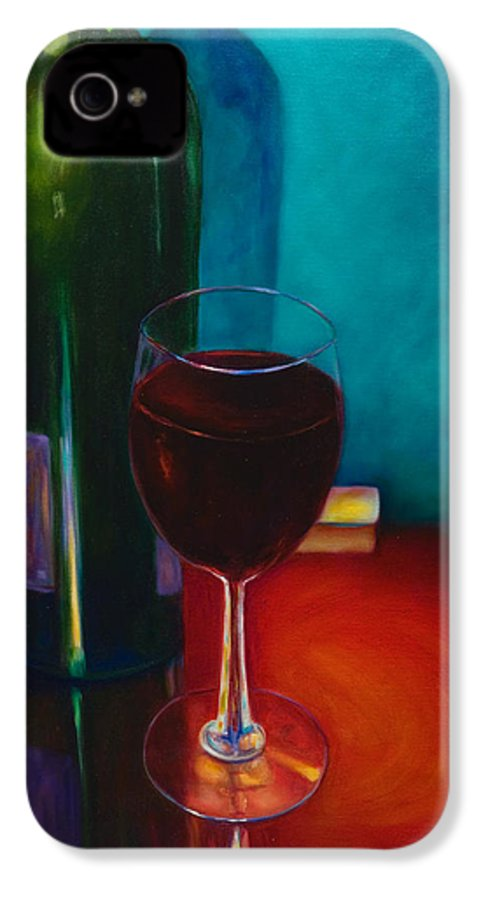 Wine Bottle IPhone 4 Case featuring the painting Shannon's Red by Shannon Grissom
