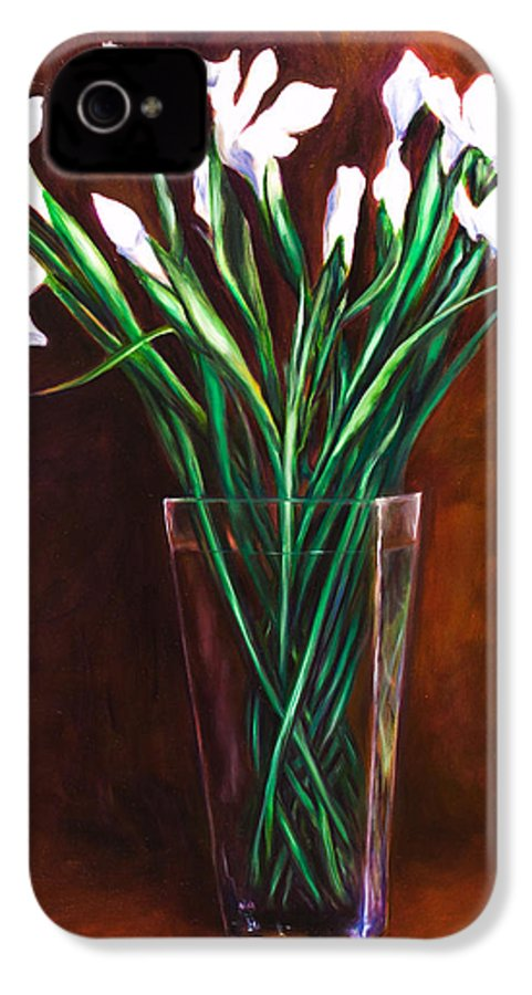 Iris IPhone 4 Case featuring the painting Simply Iris by Shannon Grissom