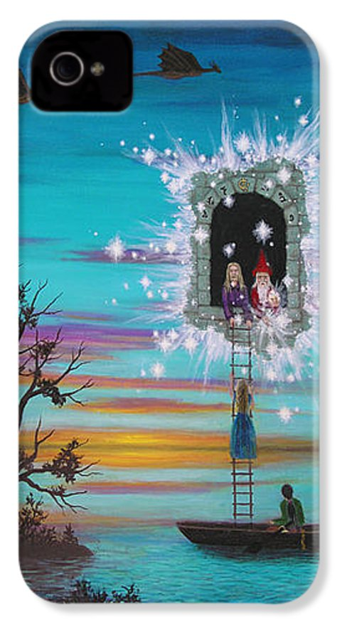 Fantasy IPhone 4 Case featuring the painting Sky Window by Roz Eve