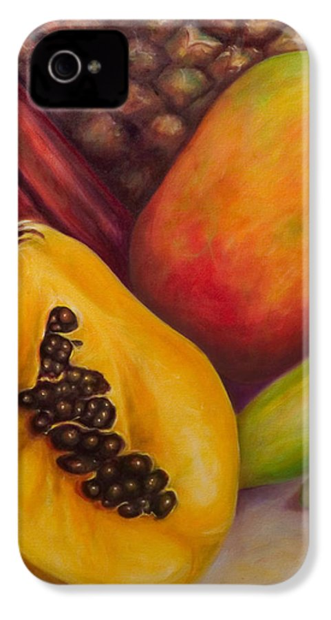 Tropical Fruit Still Life: Mangoes IPhone 4 Case featuring the painting Solo by Shannon Grissom