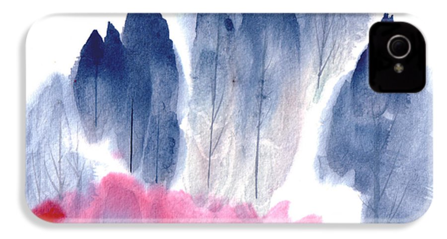 A Forest With Red Blooming Bushes In Spring. This Is A Contemporary Chinese Ink And Color On Rice Paper Painting With Simple Zen Style Brush Strokes.  IPhone 4 Case featuring the painting Spring Forest by Mui-Joo Wee