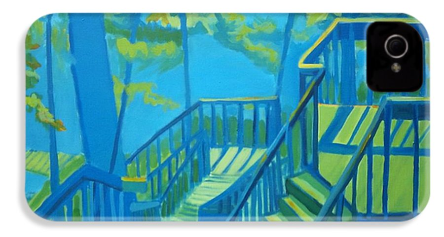 New Hampshire IPhone 4 Case featuring the painting Suncook Stairwell by Debra Bretton Robinson