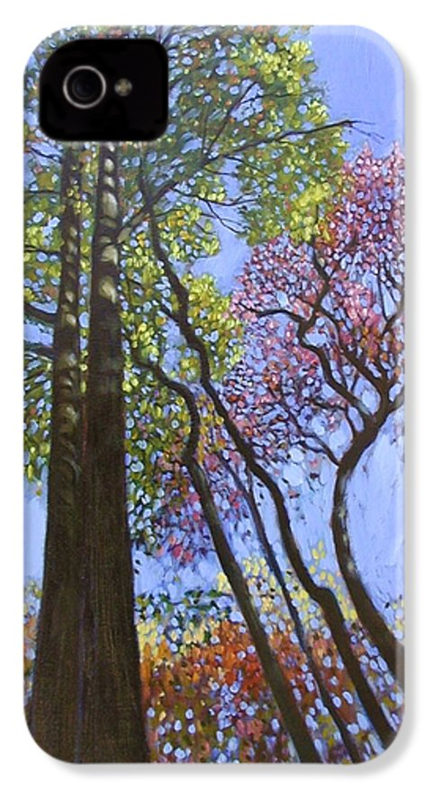 Fall Trees Highlighted By The Sun IPhone 4 Case featuring the painting Sunlight On Upper Branches by John Lautermilch