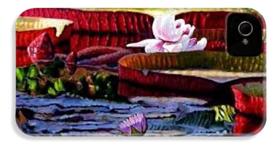Shadows And Sunlight Across Water Lilies. IPhone 4 Case featuring the painting The Patterns Of Beauty by John Lautermilch