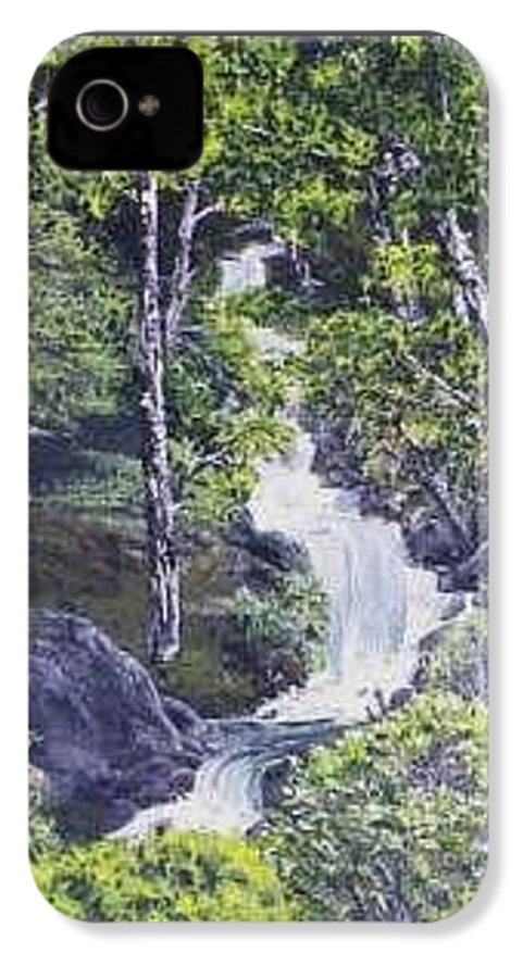 This Is A Lovely Waterfall We Saw On The Way Back Home From Mount Hood Oregon. IPhone 4 Case featuring the painting Through The Woods by Darla Boljat