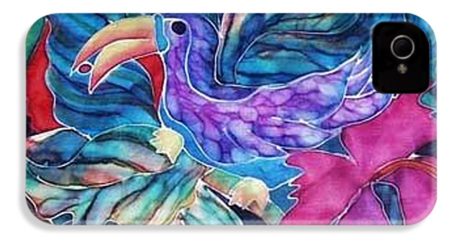 Tropical IPhone 4 Case featuring the painting Toucan Two by Francine Dufour Jones