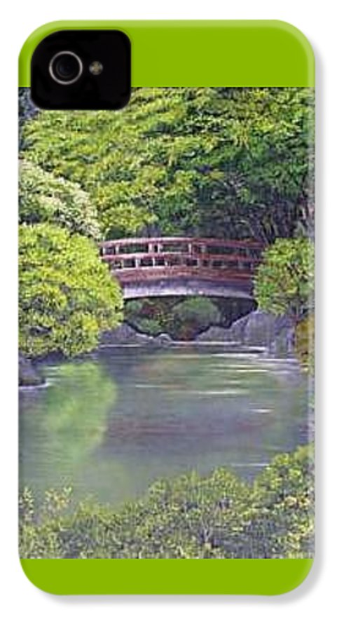 This Peaceful Scene Is An Artist's Rendition Of The Japanese Gardens IPhone 4 Case featuring the painting Tranquility by Darla Boljat