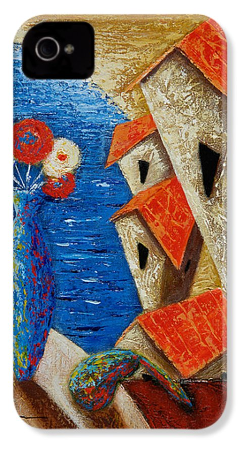 Landscape IPhone 4 Case featuring the painting Ventana Al Mar by Oscar Ortiz