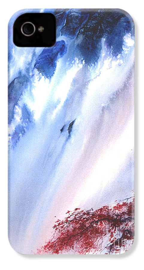 A Waterfall- A Watercolor Painting IPhone 4 Case featuring the painting Waterfall by Mui-Joo Wee