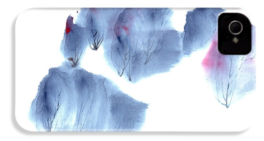 Waving Trees In A Forest On A Windy Day. This Is A Contemporary Chinese Ink And Color On Rice Paper Painting With Simple Zen Style Brush Strokes.  IPhone 4 Case featuring the painting Windy Forest by Mui-Joo Wee