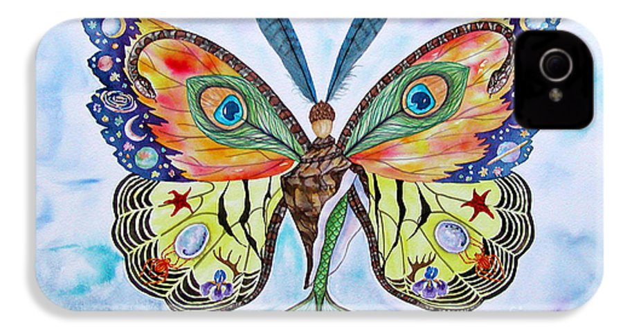 Butterfly IPhone 4 Case featuring the painting Winged Metamorphosis by Lucy Arnold