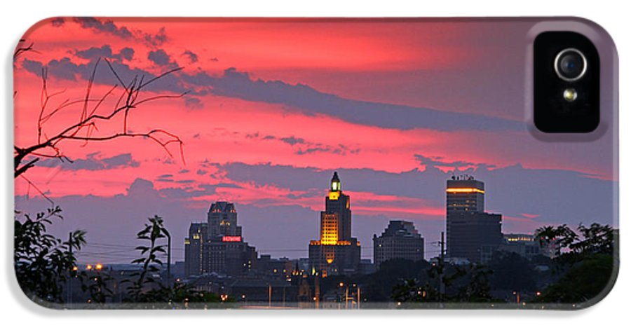 Sunset IPhone 5 Case featuring the photograph                            4th Of July Sunset Providence Ri by Butch Lombardi