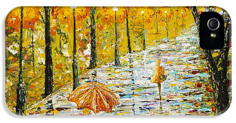 Rainy Day IPhone 5 Case featuring the painting Rainy Autumn Beauty Original Palette Knife Painting by Georgeta Blanaru