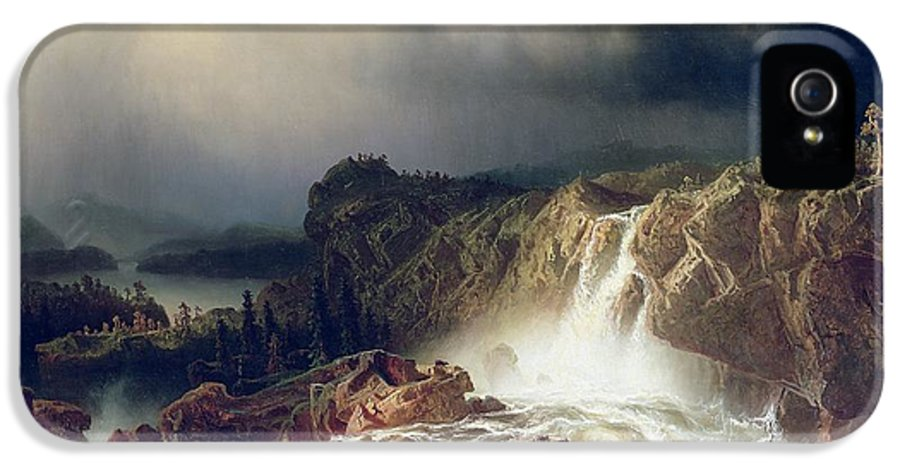 Storm; Spray; Scandinavia; Scandinavian; Romantic IPhone 5 Case featuring the painting Rocky Landscape With Waterfall In Smaland by Marcus Larson
