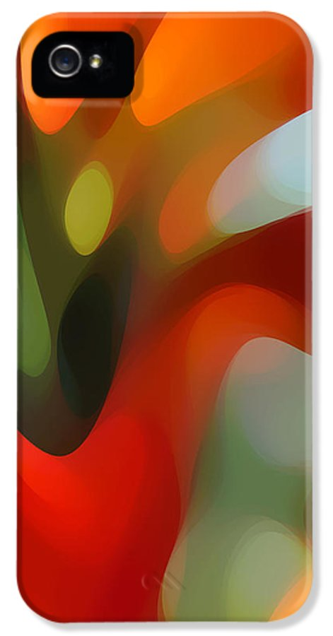 Abstract IPhone 5 Case featuring the painting Tree Light 2 by Amy Vangsgard