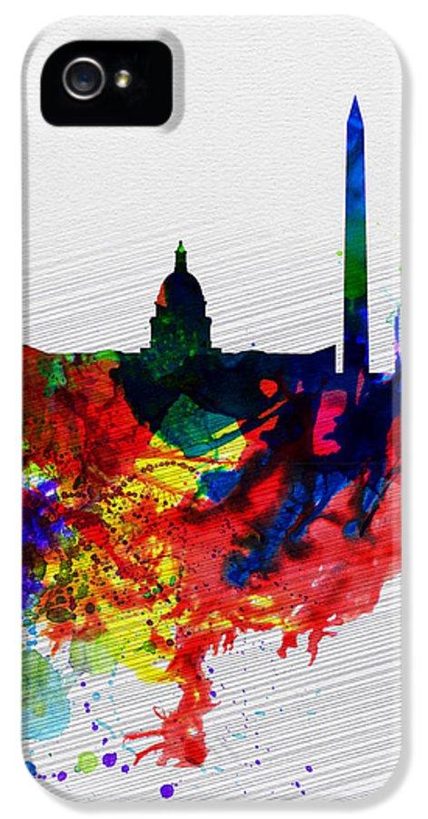Washington Dc IPhone 5 Case featuring the painting Washington Dc Watercolor Skyline 1 by Naxart Studio