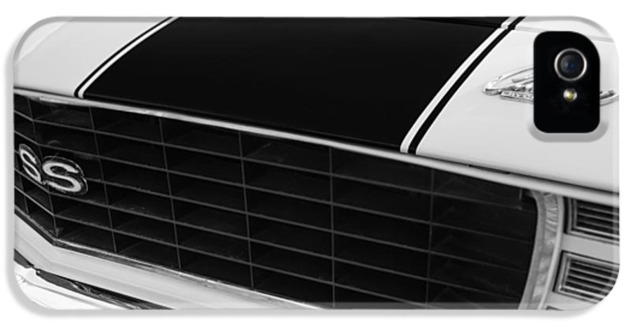 1969 Chevrolet Camaro Rs-ss Indy Pace Car Replica Grille IPhone 5 Case featuring the photograph 1969 Chevrolet Camaro Rs-ss Indy Pace Car Replica Grille - Hood Emblems by Jill Reger