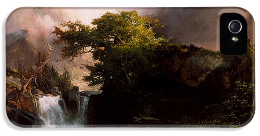 Land IPhone 5 Case featuring the painting A Mountain Stream by Thomas Moran