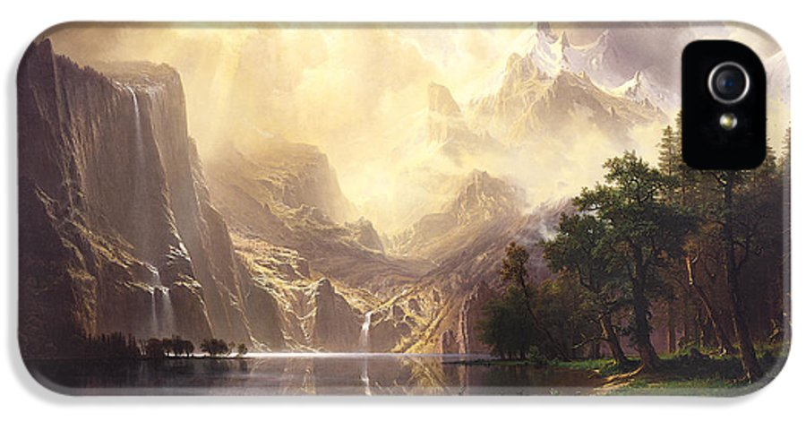Bierstadt IPhone 5 Case featuring the painting Among The Sierra Nevada Mountains California by Albert Bierstadt