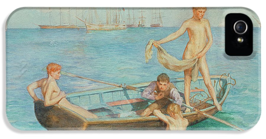 Sea IPhone 5 Case featuring the painting August Blue by Henry Scott Tuke