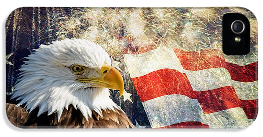 Bald Eagle IPhone 5 Case featuring the photograph Bald Eagle And Fireworks by Michael Shake