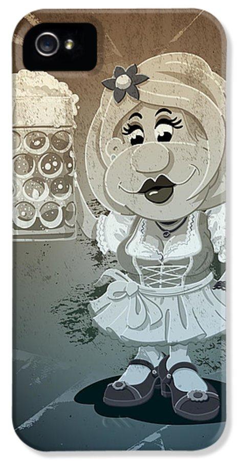 Frank Ramspott IPhone 5 Case featuring the digital art Beer Stein Dirndl Oktoberfest Cartoon Woman Grunge Monochrome by Frank Ramspott