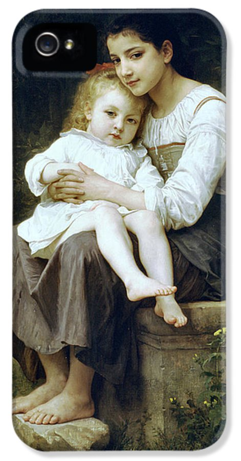 Big Sister IPhone 5 Case featuring the digital art Big Sister by William Bouguereau