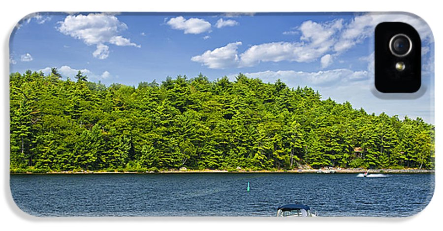 Motorboat IPhone 5 Case featuring the photograph Boating On Lake by Elena Elisseeva