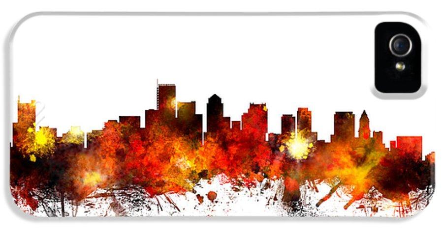 United States IPhone 5 Case featuring the digital art Boston Massachusetts Skyline by Michael Tompsett