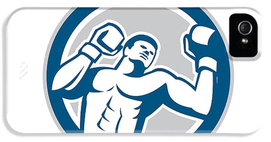 Boxer IPhone 5 Case featuring the digital art Boxer Boxing Boxing Circle Retro by Aloysius Patrimonio
