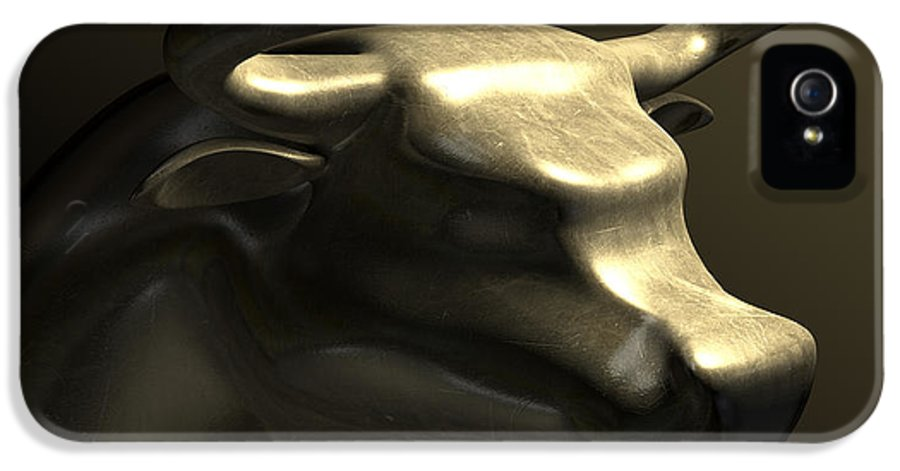 Bull Market IPhone 5 Case featuring the digital art Bull Market Bronze Casting Contrast by Allan Swart