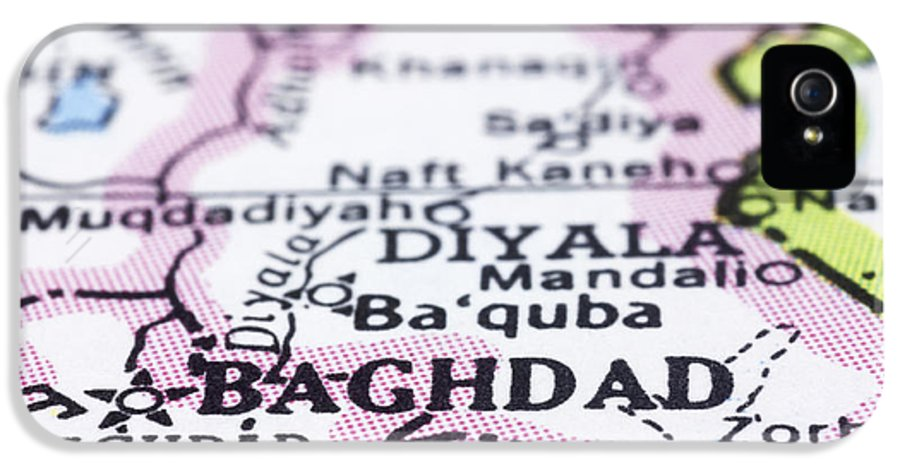 Baghdad IPhone 5 Case featuring the photograph close up of Baghdad on map-Iraq by Tuimages