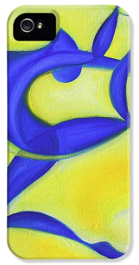 Abstract Art IPhone 5 Case featuring the painting Dancing Sprite In Yellow And Blue by Tiffany Davis-Rustam