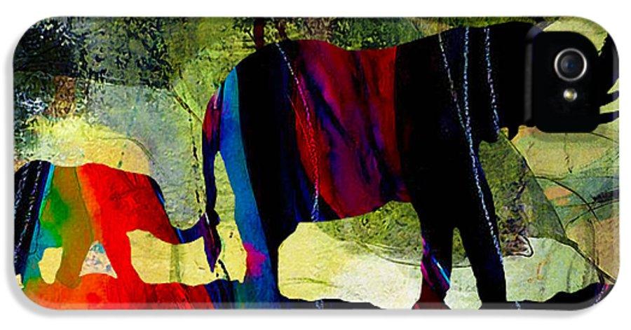 Elephants Art IPhone 5 Case featuring the mixed media Elephant Walk by Marvin Blaine