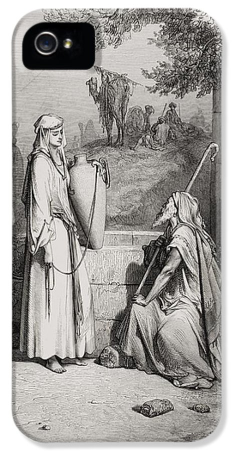 Male IPhone 5 Case featuring the painting Eliezer And Rebekah by Gustave Dore