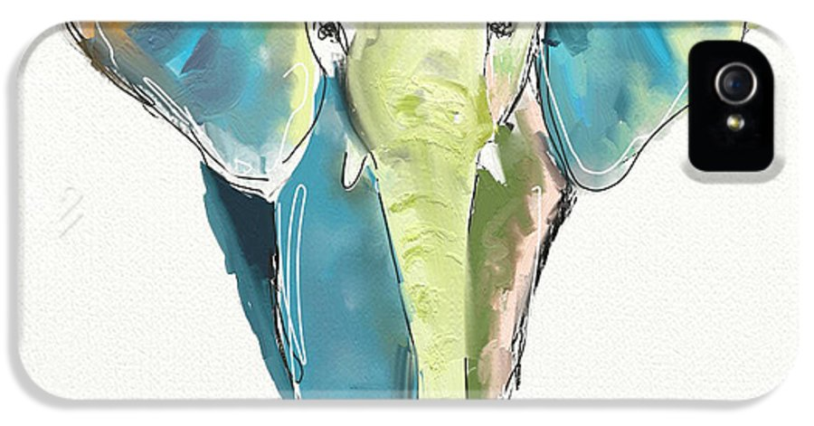 Elephant IPhone 5 Case featuring the painting Ellie by Cathy Walters