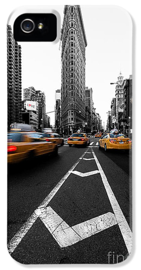 5th Avenue Clock IPhone 5 Case featuring the photograph Flatiron Building Nyc by John Farnan