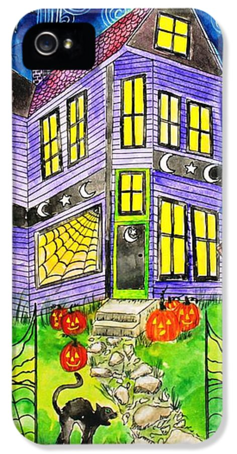 Hallows Eve IPhone 5 Case featuring the painting Flight Of The Moon Witch On Hallows Eve by Janet Immordino