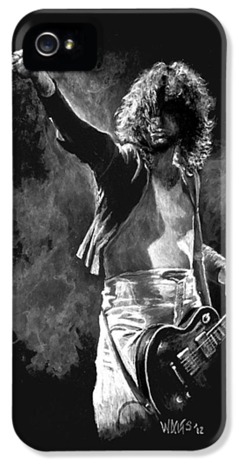 Jimmy Page IPhone 5 Case featuring the painting Jimmy Page by William Walts