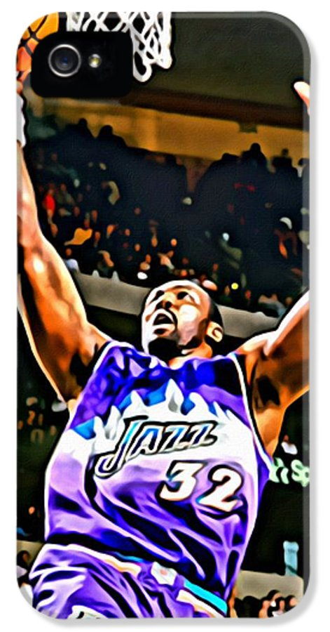 Karl Malone IPhone 5 Case featuring the painting Karl Malone by Florian Rodarte