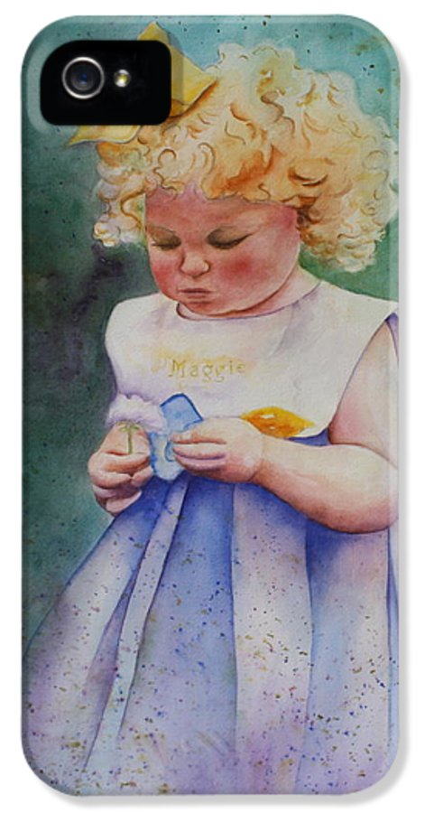 Child IPhone 5 Case featuring the painting Maggie's Dandelion by Patsy Sharpe