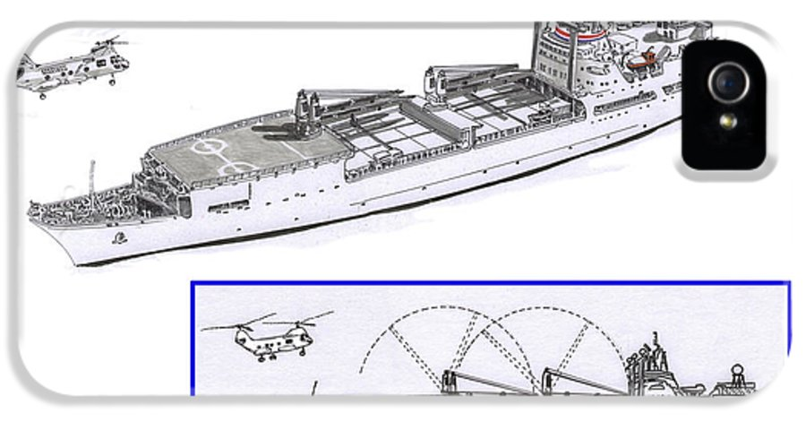 Merchant Marine Sea Lift Command Conceptual Drawing For New Loading Booms IPhone 5 Case featuring the drawing Merchant Marine Conceptual Drawing by Jack Pumphrey