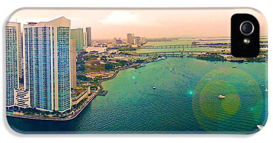 Panorama IPhone 5 Case featuring the photograph 1 Miami by Michael Guirguis