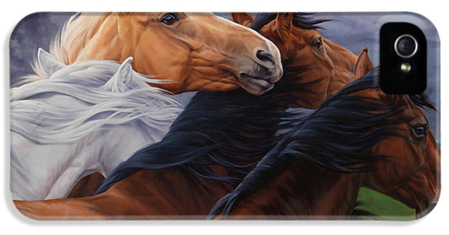 Michelle Grant IPhone 5 Case featuring the painting Mutual Support by JQ Licensing