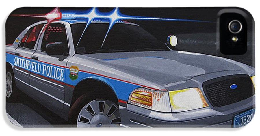 Police IPhone 5 Case featuring the painting Night Patrol by Robert VanNieuwenhuyze