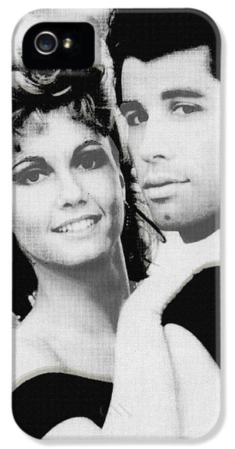 John Travolta IPhone 5 Case featuring the painting Olivia Newton John And John Travolta In Grease Collage by Tony Rubino