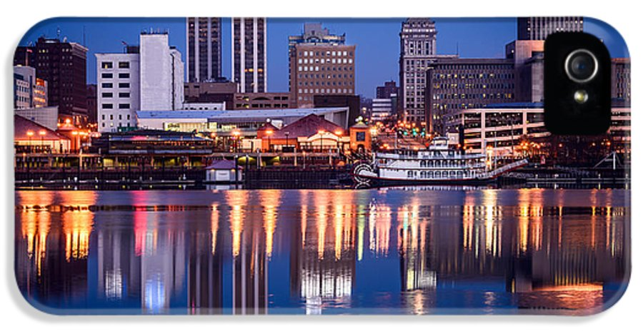 America IPhone 5 Case featuring the photograph Peoria Illinois Skyline At Night by Paul Velgos